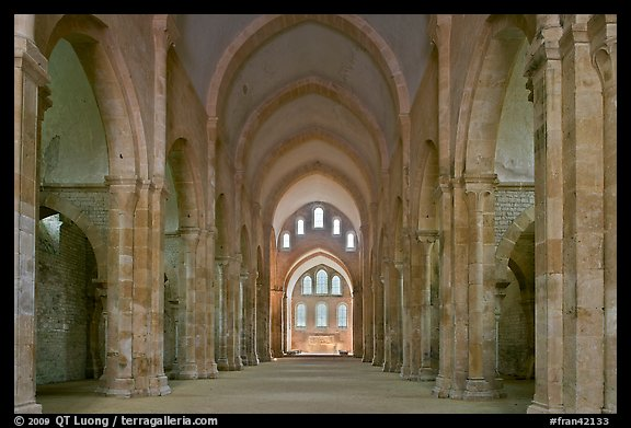 Church nave, Fontenay Abbey. Burgundy, France (color)