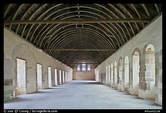 Dormitory, Cistercian Abbey of Fontenay. Burgundy, France (color)