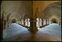 Wide view of cloister galleries, Fontenay Abbey. Burgundy, France