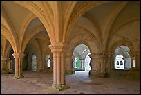 Rib-vaulted council room, Abbaye de Fontenay. Burgundy, France