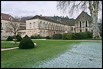 Lawn and forge in winter, Abbaye de Fontenay. Burgundy, France ( color)