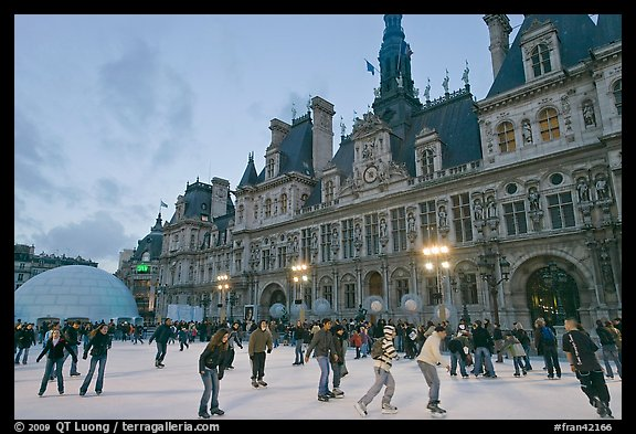 Hotel de Ville with Christmas ice ring. Paris, France (color)