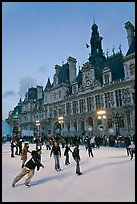Holiday ice ring in front of the city hall. Paris, France (color)