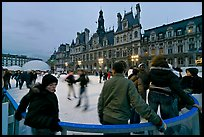 Skating rink, Hotel de Ville. Paris, France (color)