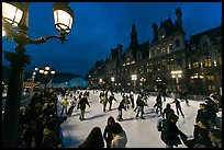 Skating rink by night, Hotel de Ville. Paris, France