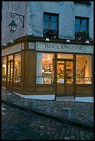 Boulangerie at dusk, Montmartre. Paris, France ( color)