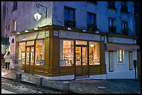 Bakery at dusk, Montmartre. Paris, France (color)