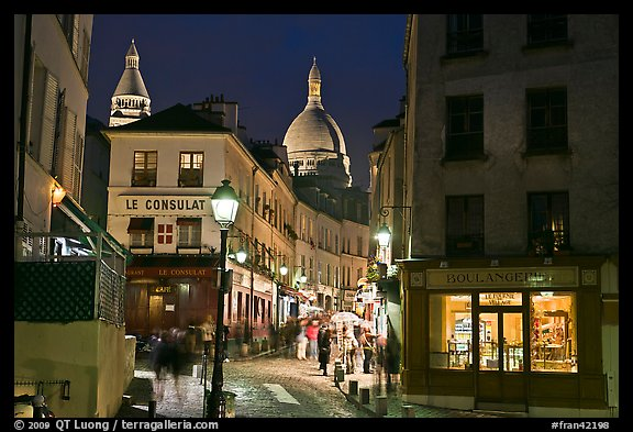 Night street scene, Montmartre. Paris, France