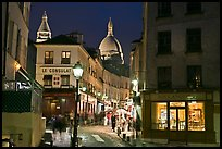 Night street scene, Montmartre. Paris, France (color)