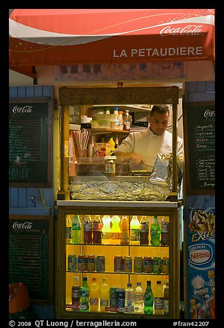 Street food vending booth, Montmartre. Paris, France (color)