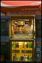Street food vending booth, Montmartre. Paris, France