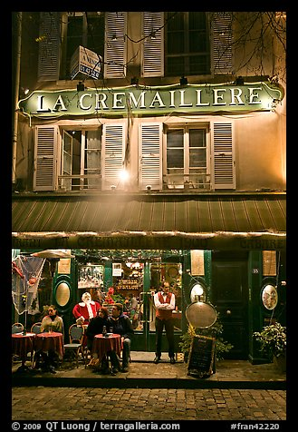 Restaurant and building, Montmartre. Paris, France (color)