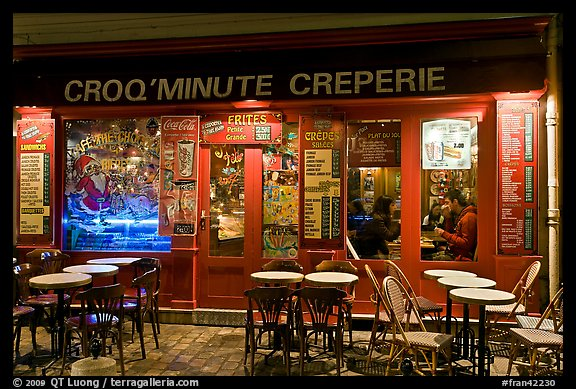 Creperie, Montmartre. Paris, France (color)