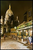 Sacre-Coeur basilica and restaurant by night, Montmartre. Paris, France (color)