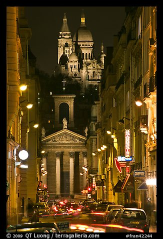 Street, Notre-Dame de Lorette Church, and Sacre-Coeur basilica, Montmartre. Paris, France