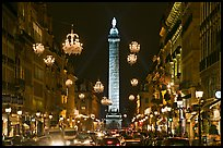 Street with lights and Place Vendome column. Paris, France ( color)