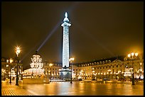 Place Vendome by night with Christmas lights. Paris, France