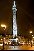 Colonne Vendome by night. Paris, France (color)