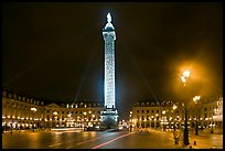 Column and place Vendome by night. Paris, France