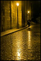 Street lamps reflected in wet pavement, with woman walking. Paris, France