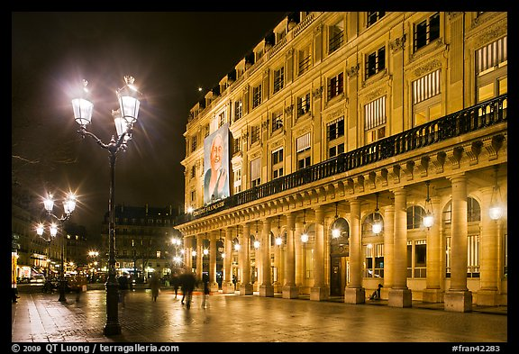 Comedie Francaise Theater by night. Paris, France (color)