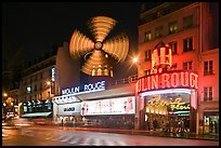 Windmill marking the Moulin Rouge Cabaret. Paris, France