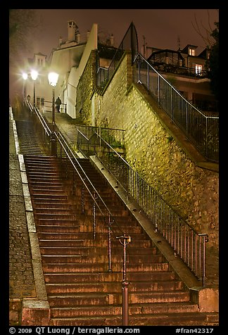 Looking up stairway by night, Montmartre. Paris, France (color)