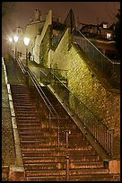 Looking up stairway by night, Montmartre. Paris, France