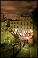 Looking down stairway by night, Montmartre. Paris, France