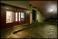 Gallery, street light, and coblestone pavement, Montmartre. Paris, France