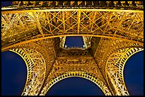 Eiffel Tower structure by night. Paris, France
