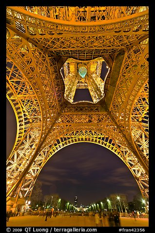 Eiffel Tower from below and Champs de Mars at night. Paris, France