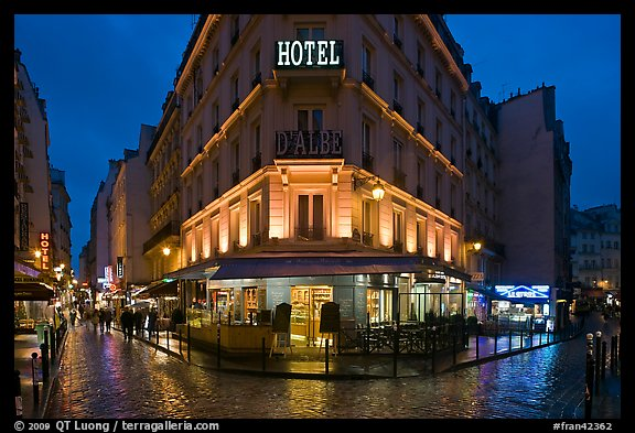 Hotel and pedestrian streets at night. Quartier Latin, Paris, France