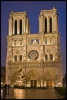 Notre-Dame-de-Paris Cathedral at night. Paris, France (color)