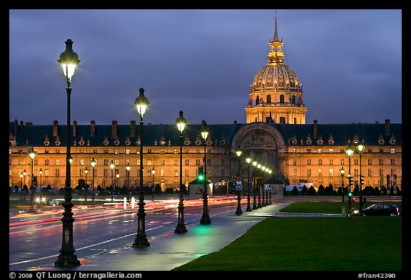 Street lights, Esplanade, and Les Invalides by night. Paris, France (color)