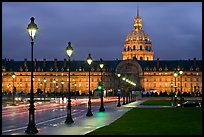 Street lights, Esplanade, and Les Invalides by night. Paris, France ( color)