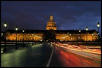 The Invalides: Mansart's dome above Bruant's pedimented central block by night. Paris, France (color)