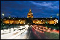 Les Invalides hospital and chapel dome with light trails from traffic. Paris, France ( color)