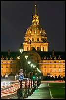 Street lights and Les Invalides by night. Paris, France (color)