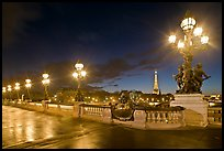 Lamps on Pont Alexandre III by night. Paris, France