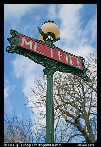 Metro sign and sky. Paris, France (color)