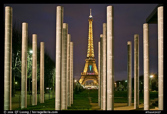 Memorial with word peace written on 32 columns in 32 languages. Paris, France
