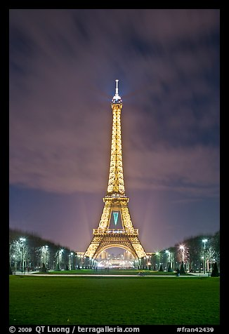 Lawns of Champs de Mars and Eiffel Tower at night. Paris, France (color)
