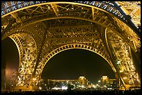 Palais de Chaillot seen through the base of Eiffel Tower by night. Paris, France (color)