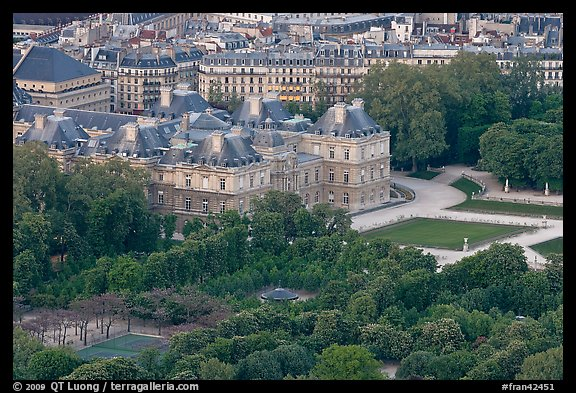 Senate and Luxembourg gardens from above. Quartier Latin, Paris, France (color)