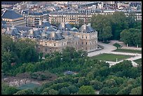 Senate and Luxembourg gardens from above. Quartier Latin, Paris, France