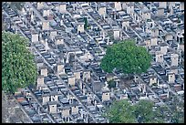 Aerial view of tombs, Montparnasse Cemetery. Paris, France