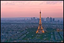 Eiffel Tower, Champs de Mars, La Defense at sunset. Paris, France (color)