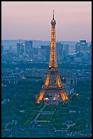 Eiffel Tower, Champs de Mars, La Defense seen from Tour Montparnasse. Paris, France