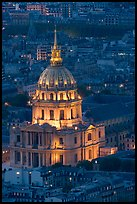 Invalides dome at night from above. Paris, France